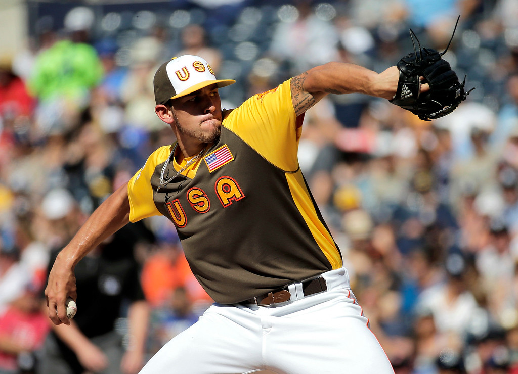 . U.S. Team starting pitcher Joe Musgrove, of the Houston Astros, throws against the World Team during the first inning of the All-Star Futures baseball game, Sunday, July 10, 2016, in San Diego. (AP Photo/Matt York)