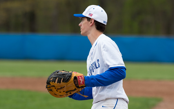 05/02/19 Wesley Bunnell | Staff Plainville baseball defeated Maloney at home on Thursday afternoon. Tyler Mandeville (8).
