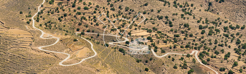 aerial image of the landscape of Nisyros Island in Greece