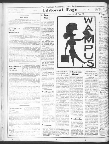 Daily Trojan, Vol. 28, No. 19, October 14, 1936
