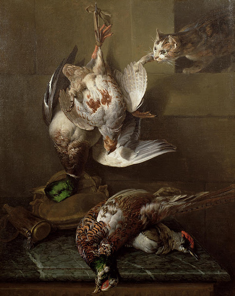 1770 Alexandre-Francois Desportes A Cat Attacking Dead Game oil on canvas Private Collection.jpg