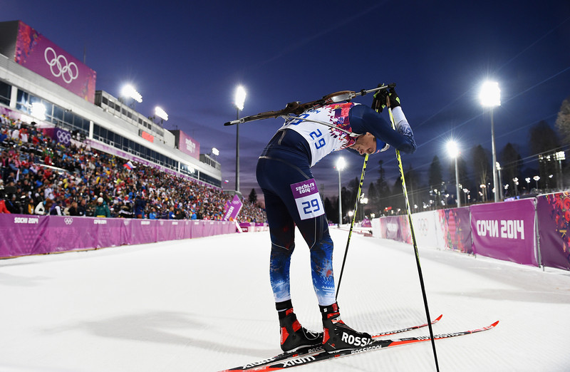 . Tim Burke of the United States reacts after competing in the Men\'s Individual 20 km during day six of the Sochi 2014 Winter Olympics at Laura Cross-country Ski & Biathlon Center on February 13, 2014 in Sochi, Russia.  (Photo by Harry How/Getty Images)