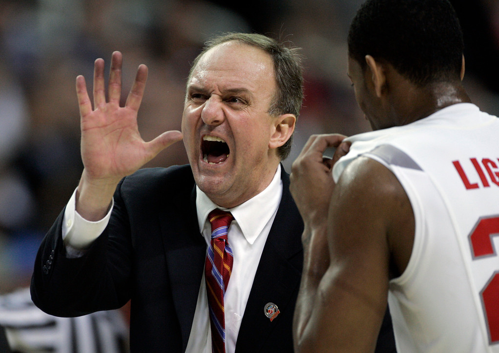 . Ohio State coach Thad Matta yells during their men\'s semifinal basketball game against Georgetown  at the Final Four in the Georgia Dome in Atlanta Saturday, March 31, 2007. At right is Ohio State\'s David Lighty (23). Ohio State won 67-60.  (AP Photo/Mark Humphrey)