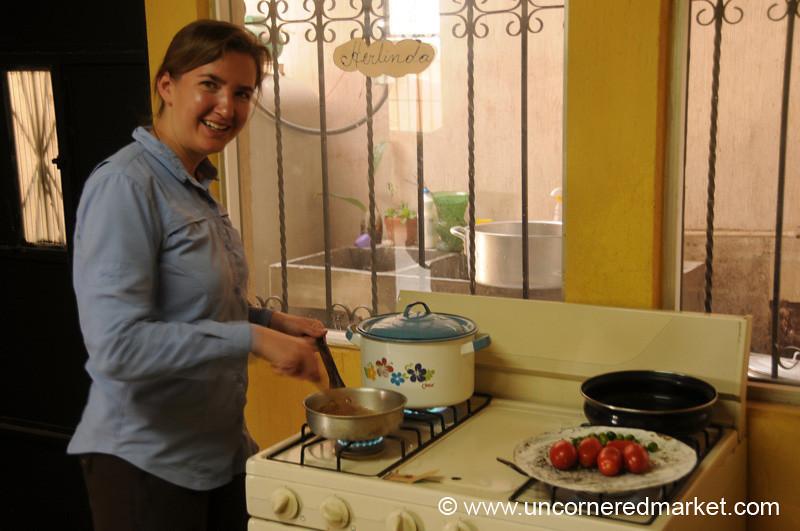 Audrey Cooking Pepian - Xela, Guatemala