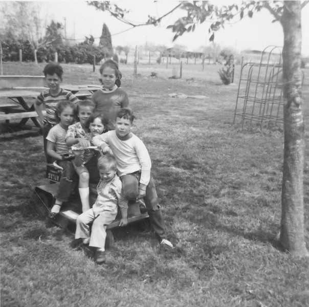 Left to right, top to bottom: John Wick, Jeanne Smock, Julie Smock, Janice Bancroft, ? Kearns, Tom Wick and David Smock Circa 1964  2132 Pech Rd. Spring Branch