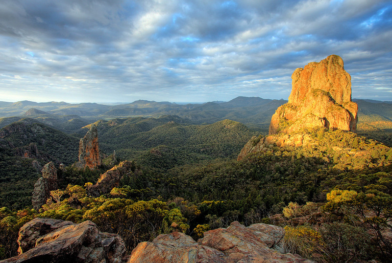 Belougery Spire (R), Warrumbungles, Australia. The Bread Knife to the left. Photo by Trent Williams