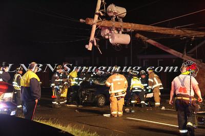 East Farmingdale Fire Co. Car vs Pole w/ Traumatic Injury Rt-109 & Albany Ave 5-26-13