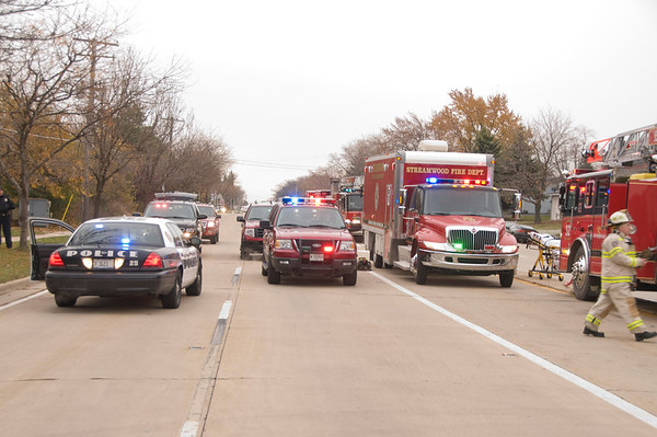 Streamwood HazMat Nov. 11, 2008  Truck leaking corrosives at High School..