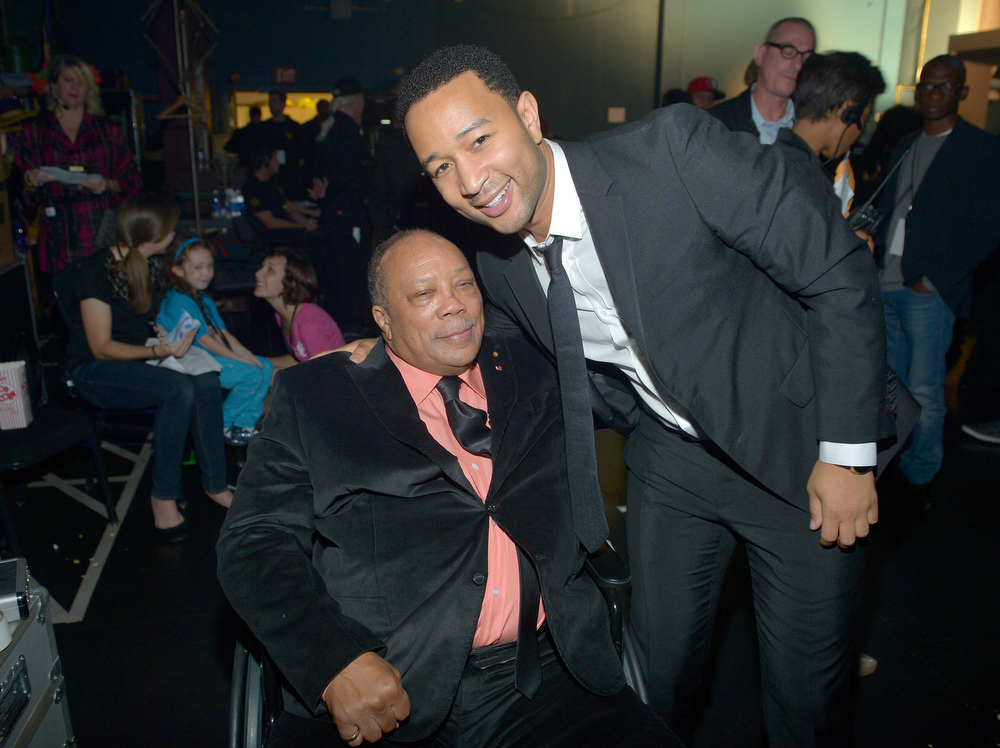 Description of . Quincy Jones and singer John Legend attend a celebration of Carole King and her music to benefit Paul Newman's The Painted Turtle Camp at the Dolby Theatre on December 4, 2012 in Hollywood, California.  (Photo by Charley Gallay/Getty Images for The Painted Turtle Camp)