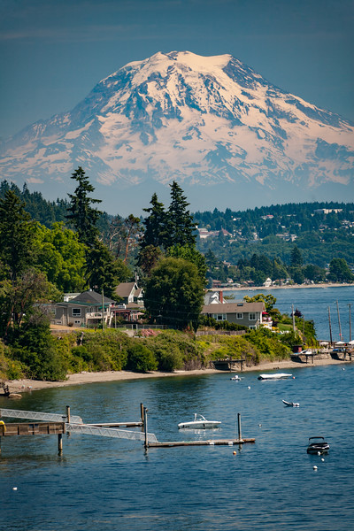Mount Rainier is seen behind luxury waterfront homes in Gig Harbor near Fox Island - McChord Air Force Base, Joint Base Lewis-McChord, Washington, United States (US)