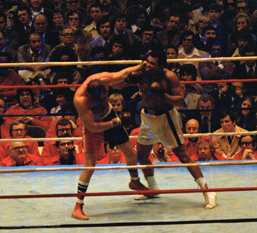 . Heavyweight fight between Ali Muhammad and Chuck Wepner, Ali won a 15th round in a Technical Knockout in Cleveland, Ohio, March 24, 1975. (AP Photo/Doug Pizac)