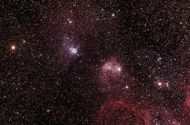 NGC3293 The Little Jewel Box and IC2599 Nebula - 23/5/2015 (Processed stack)