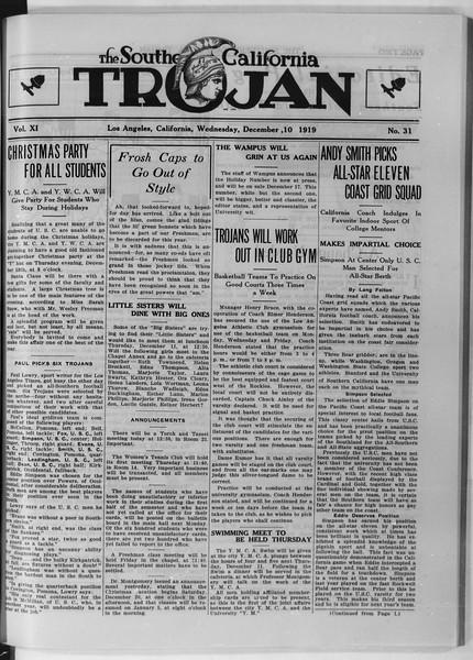 The Southern California Trojan, Vol. 11, No. 31, December 10, 1919