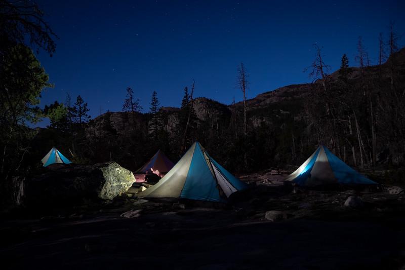 Megamid Tents at Night