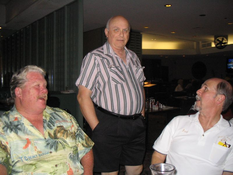 10/05 - Trustee's Dave Young & Roger Vulgamore chat it up with Lecturing Knight Fred McGregor at Pizza/Pasta Night