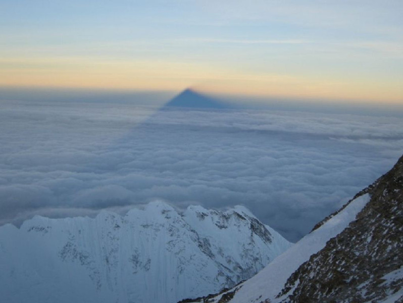 View towards west - Everest shadow. Nuptse (25,790ft = 7.861m) is a way below.