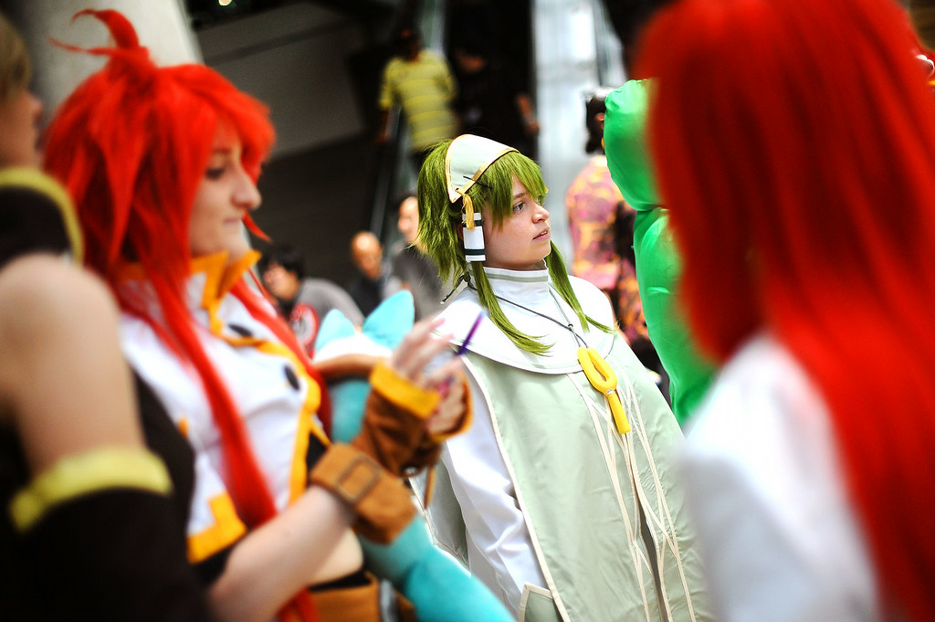 . Cosplaying fans don costumes of all types during Anime Expo 2014 at the Los Angeles Convention Center July 3, 2014.  The expo, which runs from July 3-6, is expect to draw 200,000 Japanese animation and pop culture fans.(Andy Holzman/Los Angeles Daily News)