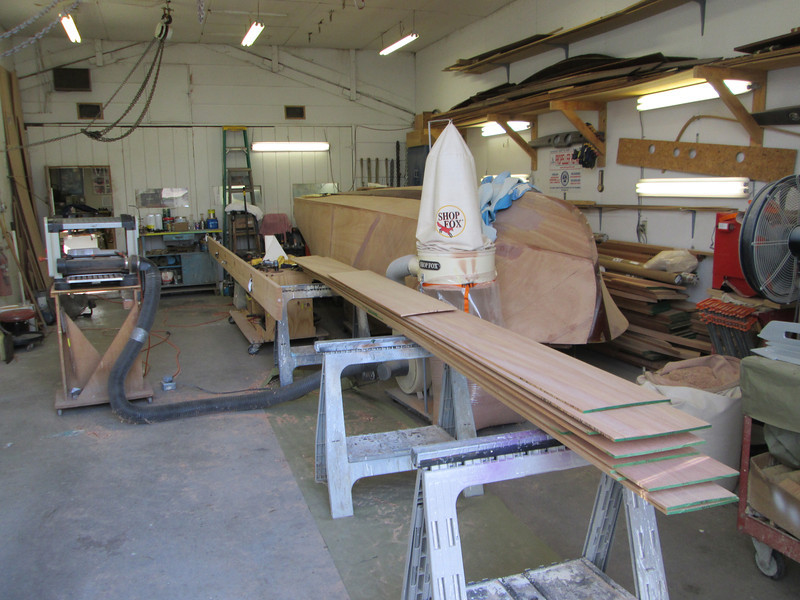 Side planking planed to correct thickness.