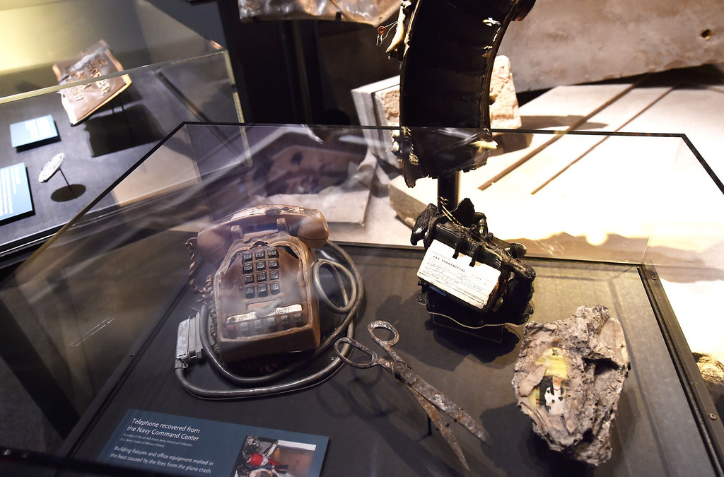 . Detail of objects found after the September 11, 2001 attack on the Pentagon, seen during a press preview of the National September 11 Memorial Museum at the World Trade Center site May 14, 2014 in New York. AFP PHOTO/Stan HONDA/AFP/Getty Images