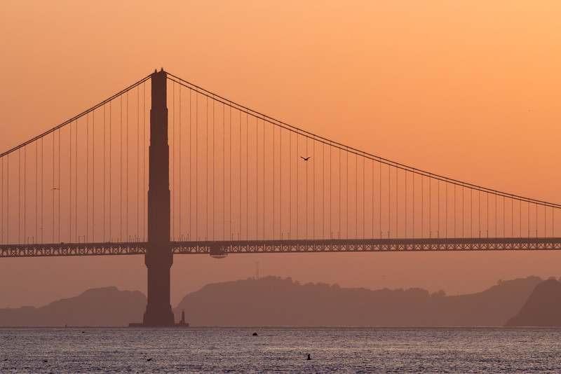Golden Gate Bridge at sunset with the Marin Headlands in the background.