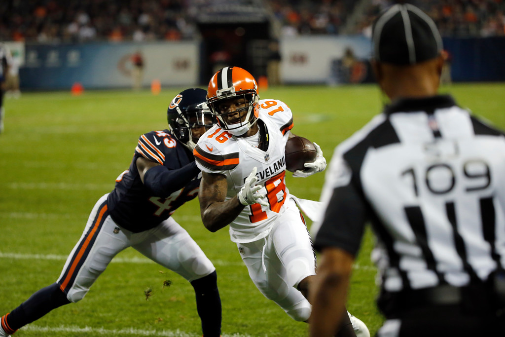 . Cleveland Browns wide receiver Rannell Hall (16) runs to the end zone after making a pass reception against Chicago Bears cornerback Rashaad Reynolds (43) during the first half of an NFL preseason football game, Thursday, Aug. 31, 2017, in Chicago. (AP Photo/Charles Rex Arbogast)