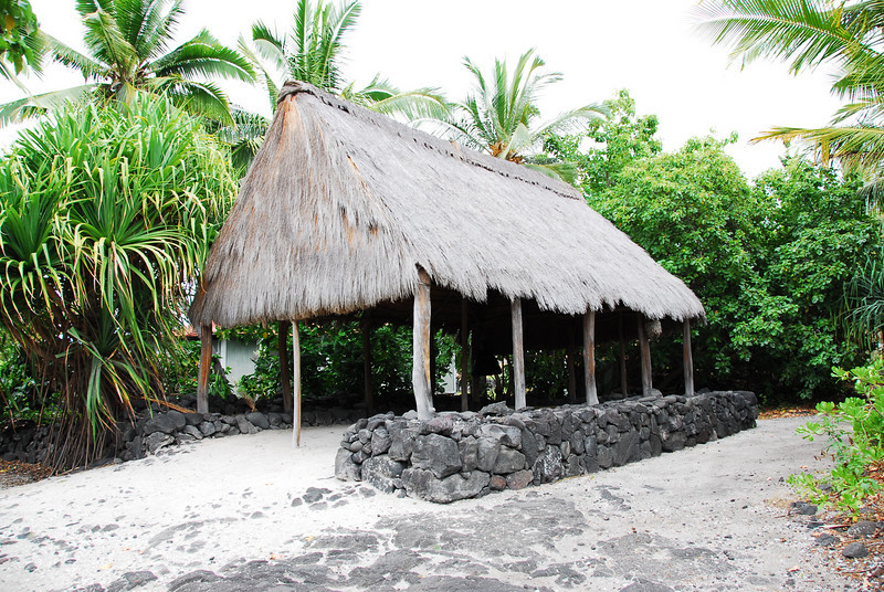 Traditional huts in Puʻukoholā Heiau National Historic Site, Hawaii