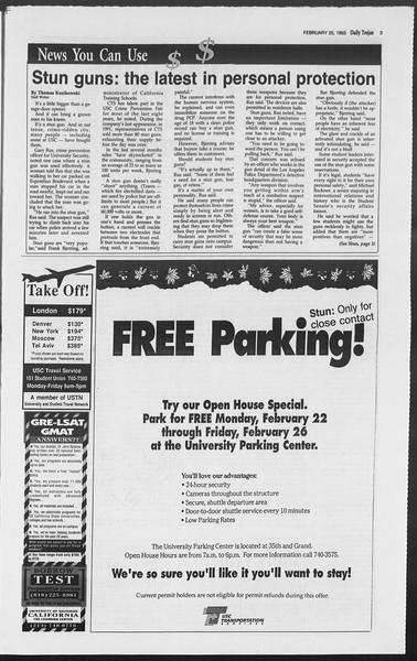 Daily Trojan, Vol. 119, No. 29, February 25, 1993