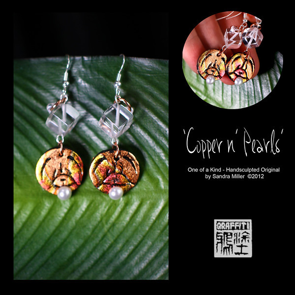 COPPER N PEARLS earrings