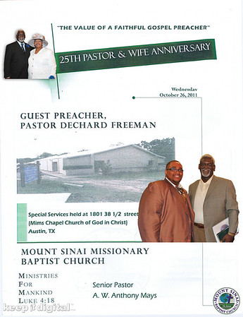 Pastor and Wife 25th Anniversary - 38th 1/2 St.