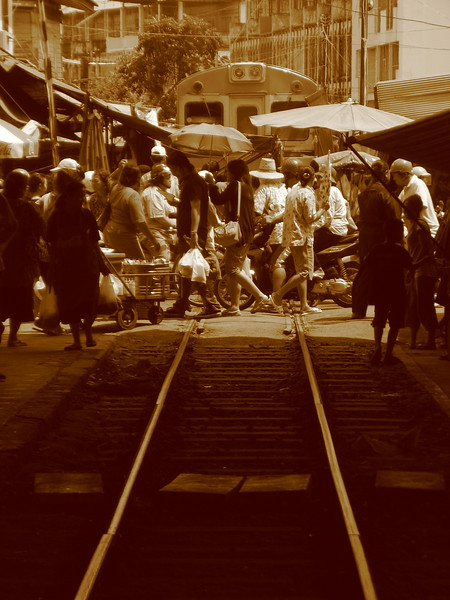 The Railway Market filling in as the train departs