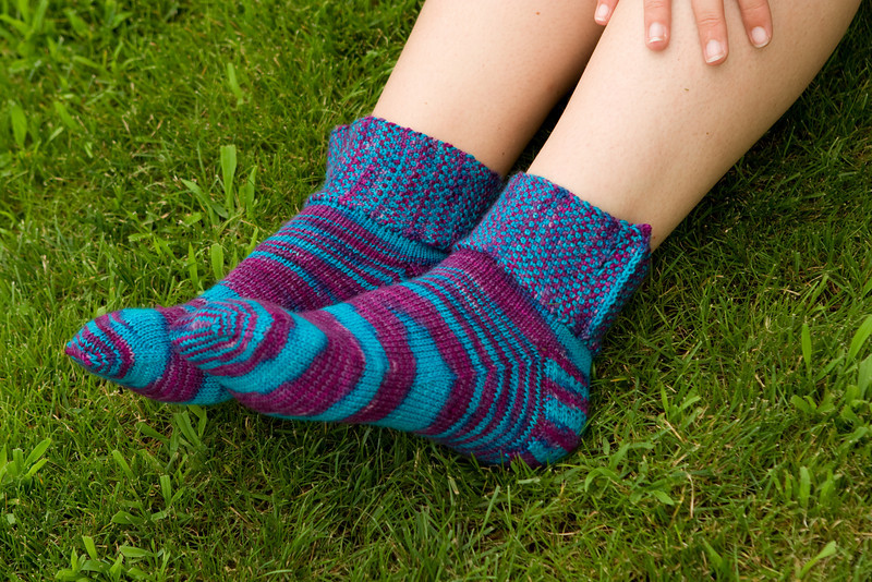 Rock and Weave socks, by Karen Alfke, in Gypsy Girl Creations fingering weight.