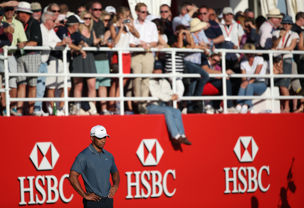 Description of . Tiger Woods of the USA looks dejected on the 17th hole during the second round of The Abu Dhabi HSBC Golf Championship at Abu Dhabi Golf Club on January 18, 2013 in Abu Dhabi, United Arab Emirates.  (Photo by Andrew Redington/Getty Images)