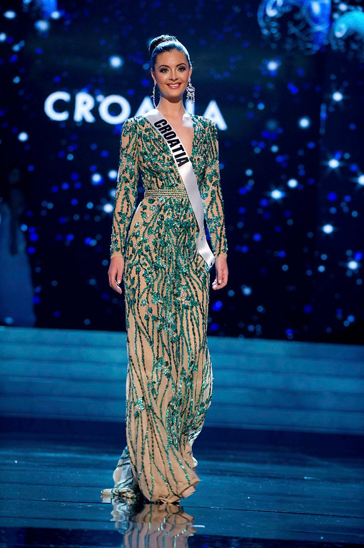 . Miss Croatia 2012 Elizabeta Burg competes in an evening gown of her choice during the Evening Gown Competition of the 2012 Miss Universe Presentation Show in Las Vegas, Nevada, December 13, 2012. The Miss Universe 2012 pageant will be held on December 19 at the Planet Hollywood Resort and Casino in Las Vegas. REUTERS/Darren Decker/Miss Universe Organization L.P/Handout