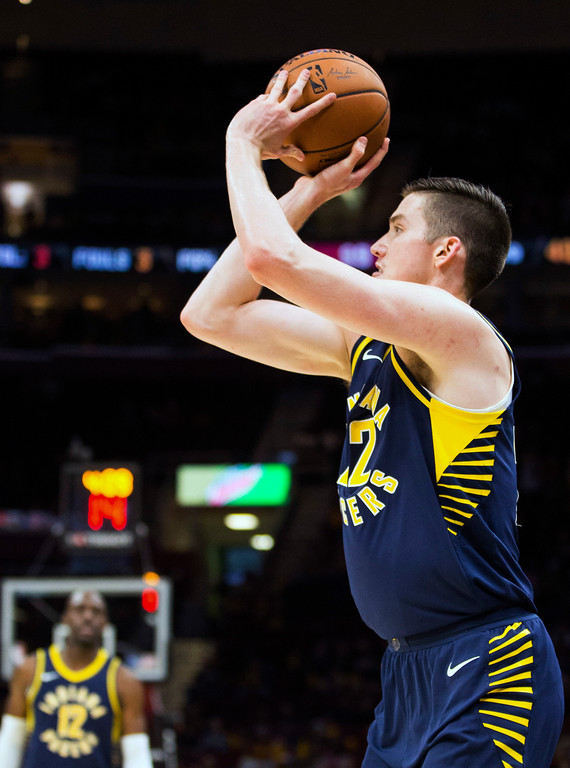 . Indiana Pacers\' T.J. Leaf (22) makes a three-point shot against the Cleveland Cavaliers during the fourth quarter of an NBA preseason basketball game, Friday, Oct. 6, 2017, in Cleveland. The Pacers won 106-102. (AP Photo/Scott R. Galvin)