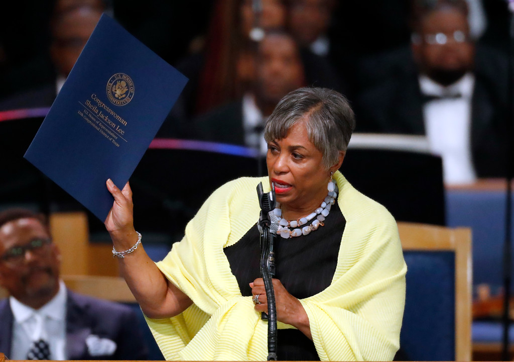 . U.S. Rep. Brenda Lawrence speaks during the funeral service for Aretha Franklin at Greater Grace Temple, Friday, Aug. 31, 2018, in Detroit. Franklin died Aug. 16, 2018 of pancreatic cancer at the age of 76. (AP Photo/Paul Sancya)