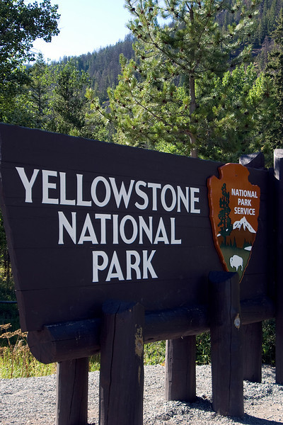 Sign at Yellowstone National Park in Wyoming