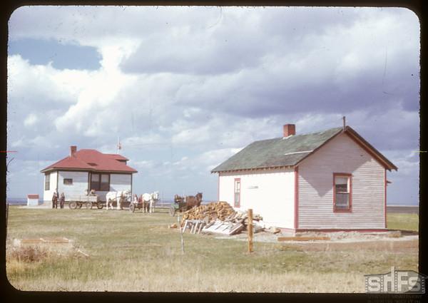 Rosefield school and teacherage Wendel B. Stroh - teacher [near the US border south of Val Marie]. Rosefield. 05/09/1951.