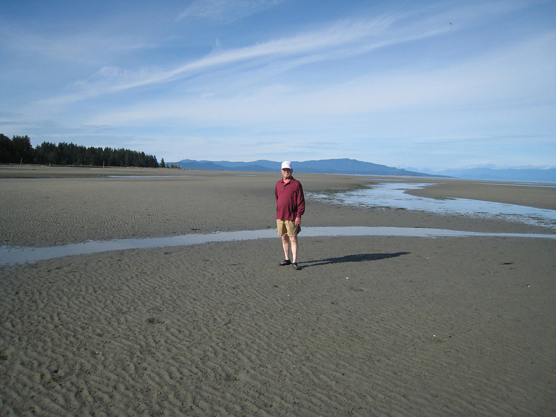 Here's David as we are walking on the beach at low tide.