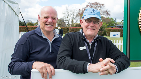 Peter Martin and David Service watching players tee off the 1st tee on Practice Day 1 of the Asia-Pacific Amateur Championship tournament 2017 held at Royal Wellington Golf Club, in Heretaunga, Upper Hutt, New Zealand from 26 - 29 October 2017. Copyright: Simon Woolf  2017.   www.woolf.co.nz