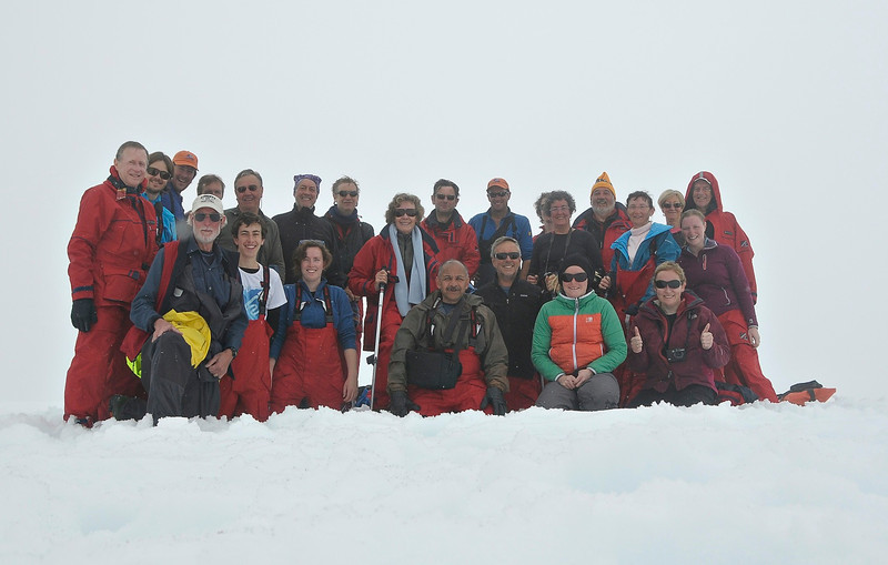 photo by Ken Wright of OOE staff team of the group after the climb... now all fogged in... Curerville Island