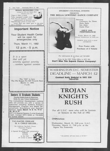 Daily Trojan, Vol. 91, No. 39, March 10, 1982