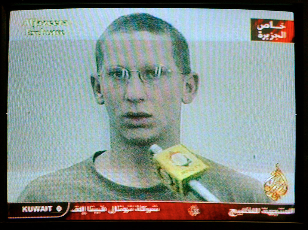 . Images broadcast on Qatar\'s Al Jazeera tv show captured U.S. soldier Private First Class Patrick Miller, 23, from Kansas, following an attack March 23, 2003 in Nassiriya, Iraq. Al Jazeera broadcast images of dead and captured soldiers. (Photo by Carlo Allegri/Getty Images)
