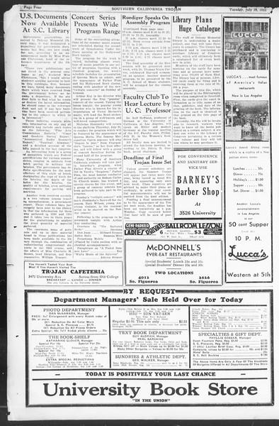 Southern California Trojan, Vol. 12, No. 7, July 14, 1933