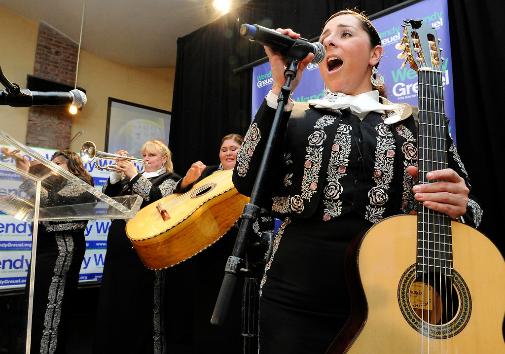 . Mariachi Divas perform as Wendy Greuel held her election night party at the Los Angeles Brewing Company in downtown Los Angeles, CA 3/5/2013(John McCoy/Staff Photographer)
