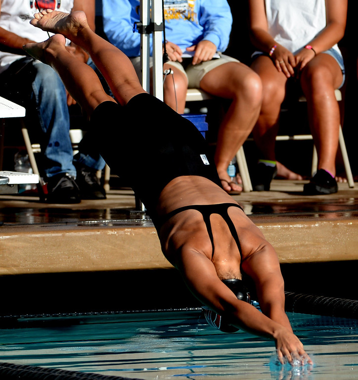 . Grace Brethren\'s Olivia Hynes wins the 50 freestyle during the Division 4 CIF Southern Section Swimming Championships in the Riverside Aquatics Complex at Riverside City College in Riverside, Calif., on Friday, May 16, 2014.  (Keith Birmingham/Pasadena Star-News)