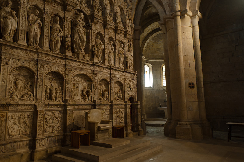 Inside the church of Poblet Monastery in Catalonia, Spain