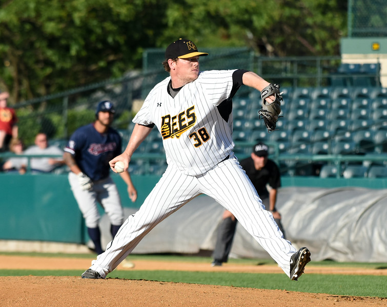 062116  Wesley Bunnell | Staff  New Britain Bees took on visiting Somerset Patriots on Tuesday evening in the second of three games. Shawn Haviland #38 from the stretch with a man on base.