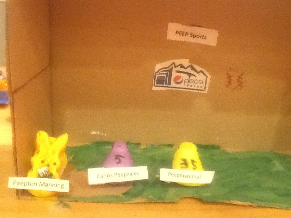 . Colorado Peep Sports at the Peepsi Center with Peepton Manning, Carlos Peepzales, and Peepmanimal. Made by Brendan Finnigan age 8.