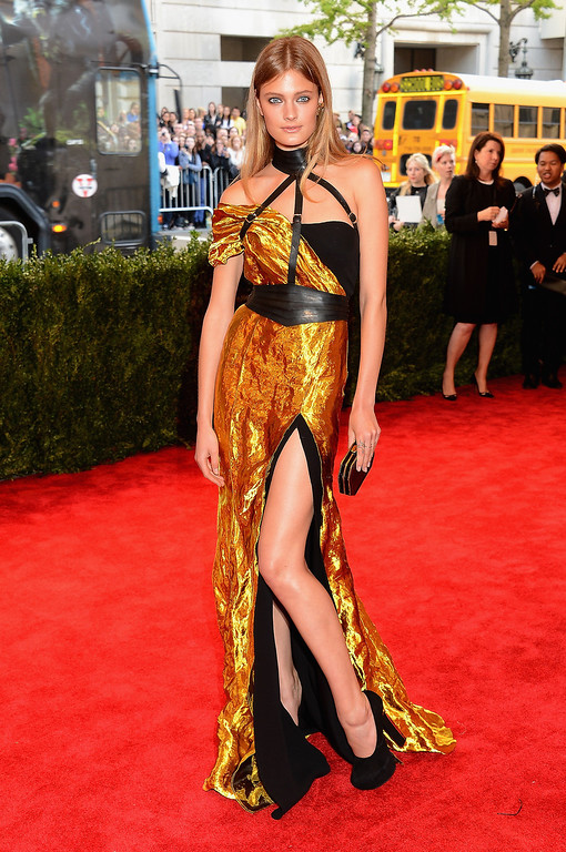 """. Model Constance Jablonski attends the Costume Institute Gala for the \""""PUNK: Chaos to Couture\"""" exhibition at the Metropolitan Museum of Art on May 6, 2013 in New York City.  (Photo by Larry Busacca/Getty Images)"""