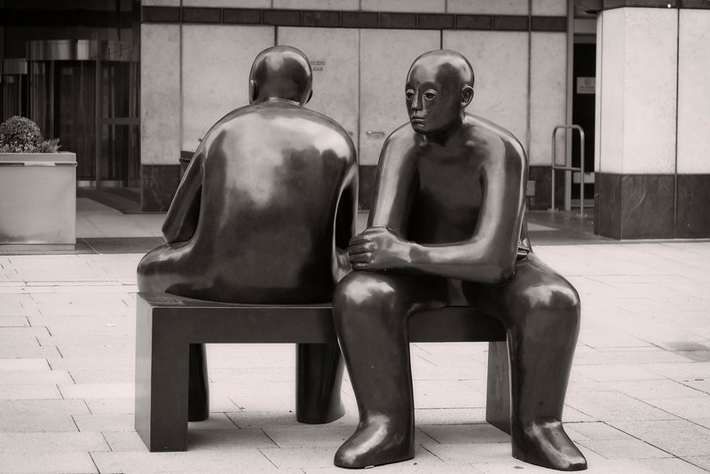 Talking Statues (Two Men on a Bench by Giles Penny), Canary Wharf